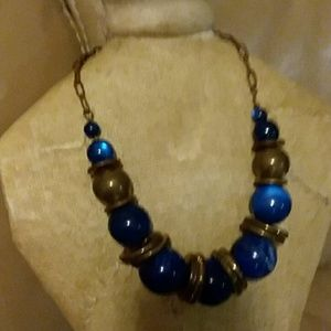 Vintage Blue Bead and Brass Necklace